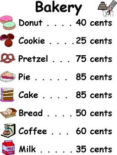 BAKERY MENU - TeachersPayTeachers.com