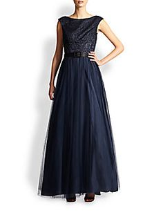Aidan Mattox - Belted Tulle & Lace Gown