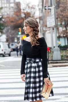 chicwish checkered midi skirt off the shoulder knit sweater black sweater sharkie kurt geiger heels hayden Harnett gold cluth holiday hair holiday outfit corporate catwalk hair style side braid