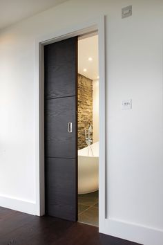 master bath, pocket door (do it grey.) master bath, pocket door (do it grey. Sliding Bathroom Doors, Internal Sliding Doors, Sliding Door Design, Bathroom Pocket Door, Internal Doors Modern, In Wall Sliding Door, Sliding Door Closet, Sliding Pocket Doors, Bathroom Interior