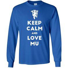 Keep Calm and Love Red Devil G240 Gildan LS Ultra Cotton T-Shirt