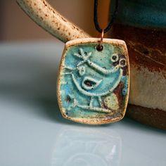 Ceramic Blue Bird Pendant Handmade Jewelry by CherieGiampietro, $18.00