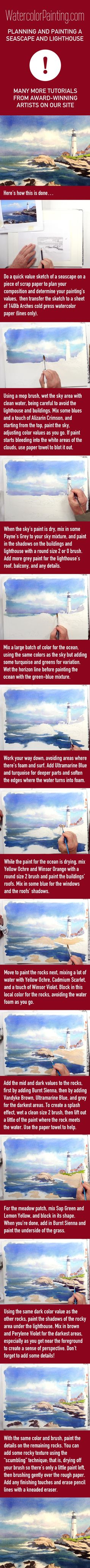 Click here for free full tutorial: http://bit.ly/1lWAE51 Includes video. Learn how to navigate an entire seascape painting from start to finish. Learn about the planning process and finishing process, which is just as important as the painting techniques taught. Various beginner, intermediate & advanced watercolor techniques are taught on this site. #paintingideas
