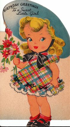 Vintage 1940s Birthday Greetings to A Sweet by poshtottydesignz