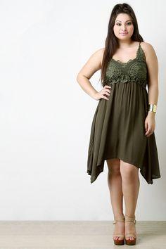 Crochet Yoke Handkerchief Hem Dress - Gioellia Boutique - 1