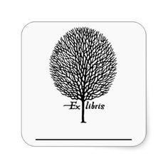 Tree Bookplate Ex Libris Square Stickers