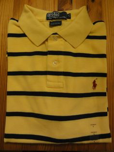 polo ralph lauren custom fit polo shirt yellow navy striped new with tags