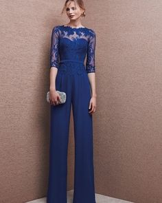 Blue Chiffon Wedding Evening Dresses Jumpsuits Mother Of the Bride Formal Gowns , Bridesmaid Dresses, Prom Dresses, Formal Dresses, Vestidos Color Azul, Royal Blue Pants, Pantalon Costume, Style Haute Couture, Look Fashion, Womens Fashion