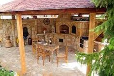 Pergola In Front Yard Referral: 4851958392 Outdoor Rooms, Outdoor Living, Outdoor Furniture Sets, Backyard Kitchen, Outdoor Kitchen Design, Rustic Outdoor, Outdoor Fire, House Awnings, Concrete Fire Pits
