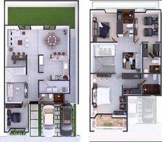 Loft House Design, Home Building Design, Home Design Plans, Modern House Design, Building A House, House Layout Plans, Dream House Plans, Small House Plans, House Layouts