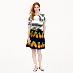 Crew for the Ratti pineapple mini for Women. Find the best selection of Women Skirts available in-stores and online. Pineapple Clothes, Tropical Outfit, Black And White Tees, J Crew Skirt, Fashion Seasons, Classy And Fabulous, Printed Skirts, Playing Dress Up, Back Home