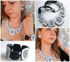 Jewellery in zebra print by TitSorcière, polymer clay.