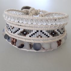Spirited earth designs leather wrap bracelet with matte quartz and matte agate