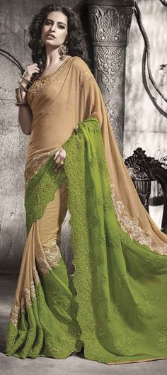 Beige and Brown, Green color family Embroidered Sarees, Party Wear Sarees with matching unstitched blouse. Georgette Fabric, Stone Work, Party Wear Sarees, Saree Collection, Green Colors, Desi, Machine Embroidery, Chiffon, Beige