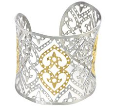 $8.99 - Stainless Steel Dotted Hearts Fleur De Lis Design Large Cuff Bangle - Gold or Two-Tone