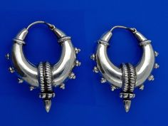 Sterling Silver Spiked Hoops Earrings Tribal Chic 21.9g by deemoda