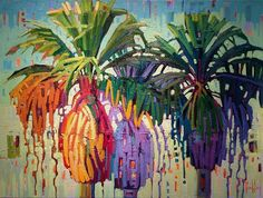 """Textured Palms,"" by Rene' Wiley by Rene' Wiley Gallery Oil ~ 30 x 40"
