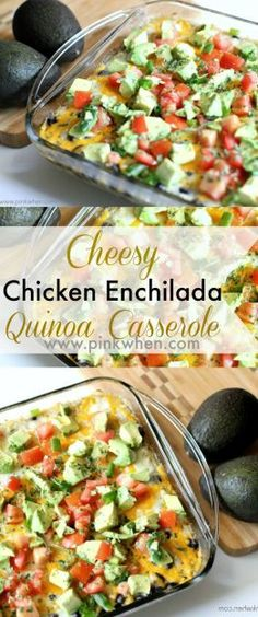 One of my families favorite healthy dinner recipes, Cheesy Chicken Enchilada Quinoa Casserole.  DELICIOUS!