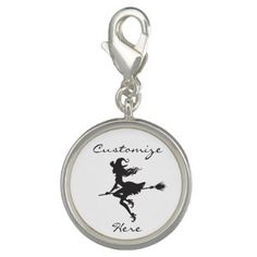 Witch Riding Broom Halloween Thunder_Cove Photo Charms - accessories accessory gift idea stylish unique custom