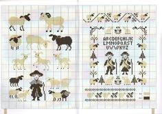 0 point de croix grille et couleurs de fils abécédaire enfants moutons bergers