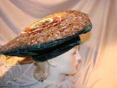 Vintage 40s 50s FEATHER PLATTER Hat Beret TLC Green Velvet UNIQUE Project #Beret