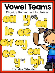 Do your kids have trouble remembering all the different vowel team spelling patterns? There are so many spelling rules in the English language! Who wouldn't have trouble remembering? This pack is chocked full of visuals, songs, practice pages, and games. First Grade Phonics, First Grade Reading, First Grade Classroom, Reading School, Vowel Activities, Phonics Activities, Work Activities, Reading Help, Guided Reading