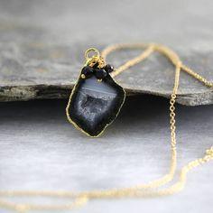 Artique Boutique Black Geode And Diamond Necklace