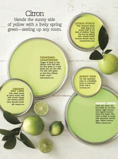 Citron Paint Colors- creamy key lime for Wee One's bedroom Green Paint Colors, Paint Colors For Home, House Colors, Colours, Warm Colors, Lime Green Paints, Lime Paint, Lime Green Walls, Colorful Decor