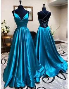 Pretty Prom Dresses, Simple Prom Dress, Blue Evening Dresses, Winter Formal Dresses, A Line Prom Dresses, Beautiful Dresses, Teal Prom Dresses, Dress Prom, Evening Gowns