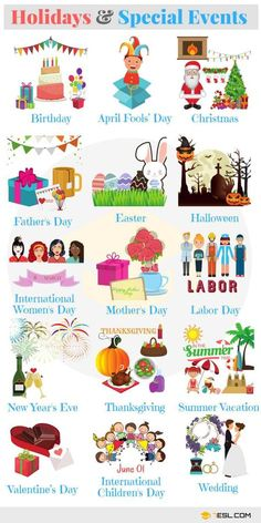 Learn Holidays and Special Events Vocabulary in English with Pictures. … Learn Holidays and Special Events Vocabulary in English with Pictures. A holiday is a day set aside by custom or … English Time, Kids English, Learn English Words, English Study, English Class, English Lessons, Vocabulary Words, English Vocabulary, English Grammar