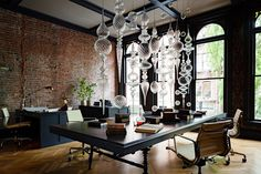 Sculptural Lighting Glamorises This Gothic Style Office