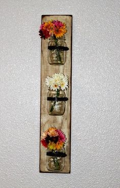 Pallet Mason Jars Hanging Wall - flower vase mason jar