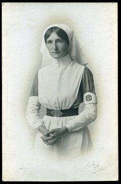 Studio vignette portrait of a nurse, probably during the First World War, by G West & Son of Southport, 1914-18   Flickr - Photo Sharing!