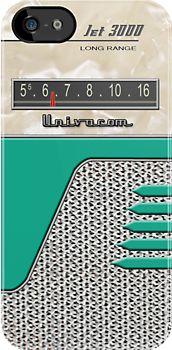 Transistor Radio - 50s Jet Green iphone cover