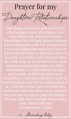 As a mom it can be difficult to help my girl navigate the onset of the teenage years. Besides encouragement, I can pray for her, asking God to strengthen her faith, for protection over her mind and for discernment in her relationships. Here are a few scriptures and prayers for my daughter as she becomes a young woman. #relationships #prayerfordaughters #prayer #teenagers #raisinggirls