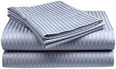 King Size 400 Thread Count 100% Cotton Dobby Stripe Sheet Set- Silver