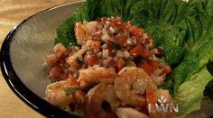 Rick Bayless l SHRIMP - shrimp tacos, lime dressing, crunchy vegetables Veggie Recipes, Mexican Food Recipes, Cooking Recipes, Ethnic Recipes, Shellfish Recipes, Seafood Recipes, Ways To Cook Shrimp, Mexican Dishes, Mexican Kitchens