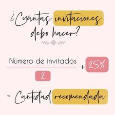 numero de invitaciones para boda #formula #boda #wedding #bride #invitaciones
