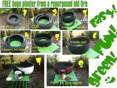Reciclagem de pneus velhos na jardinagem :)