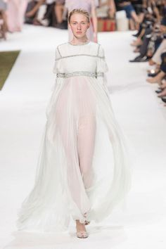 A gorgeous white chiffon, long-sleeved, beaded gown seen at Giambattista Valli's 2016 couture show.