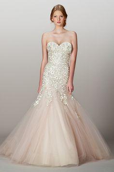 Liancarlo wedding dress with a pale pink bottom, Fall 2013.