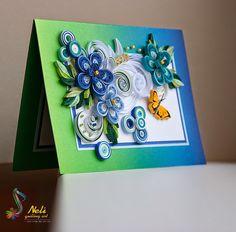 Neli Quilling Art: Quilling cards /14.8 cm- 10.5 cm/ - summer