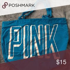 Pink Victoria Secrets Bag Blue Victoria Secrets Pink bag with silver writing. In great condition only used a couple times. PINK Victoria's Secret Bags Shoulder Bags