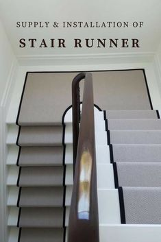 Grey Stair Runner With Black Border Supplied & Fitted In Private Residence In North London Painted Stairs, Wood Stairs, Basement Stairs, House Stairs, Carpet Staircase, Staircase Runner, Basement Carpet, Stair Runners, Houses