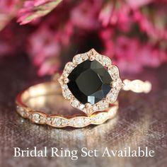 Vintage Floral Black Spinel Diamond Engagement by LaMoreDesign
