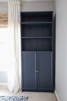 How to transform an IKEA Billy bookcase with shiplap and paint! Add pretty and functional storage with this IKEA Billy bookcase hack! This budget friendly DIY project is a great way to add extra storage to your office or home! Diy Furniture Building, Ikea Furniture, Home Office Furniture, Furniture Vintage, Luxury Furniture, Ikea Storage, Bedroom Storage, Tall Cabinet Storage, Extra Storage