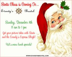 Santa Claus is coming to Evandy's on Sunday, December 8th. Stop in and see Santa and the Evandy's Express Sleigh from 11 am to 1 pm on Sunday. Meet Santa, pose for some pictures and enjoy some great menu specials for the kids.