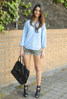 Camo & Denim #camo #shorts #denim #shirt