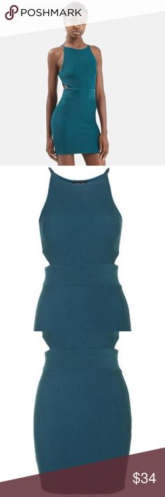 TOPSHOP Cutout dress TOPSHOP - ribbed bodycon dress - dark Teal - super stretchy & soft , side zipper Topshop Dresses Mini