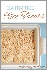 Dairy-free rice crispie treats that can also be soy-free. Enjoy this classic treat even with food allergies! Great for serving guests.